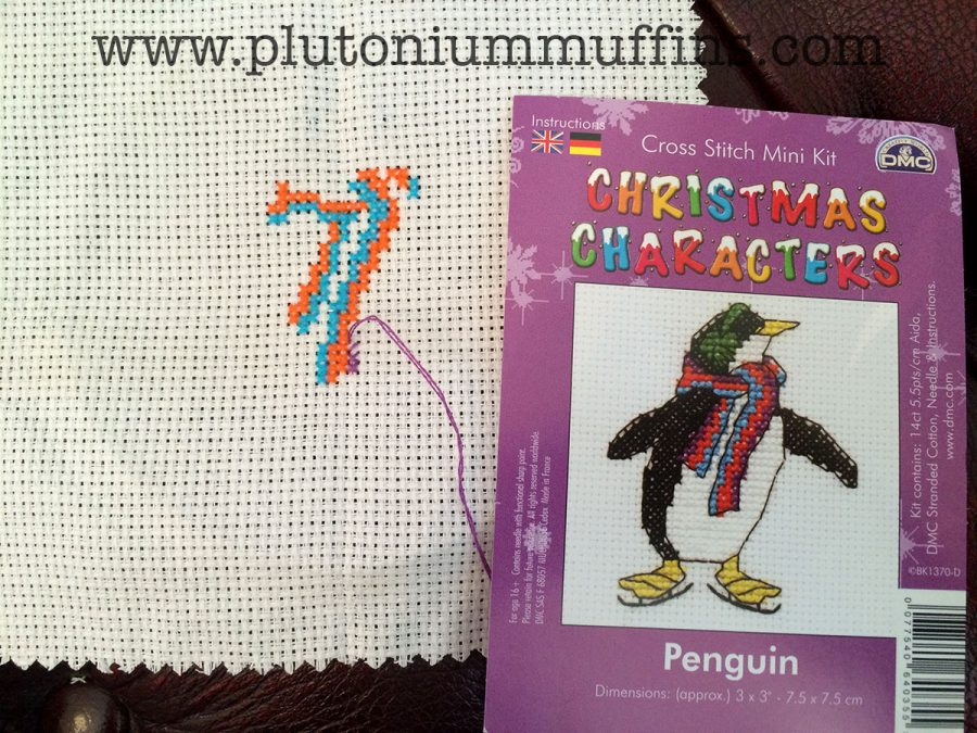 A funky funky penguin cross stitch kit.