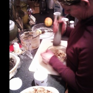 Mum grinding nuts for Christmas Cake (Copyright Corrie B)