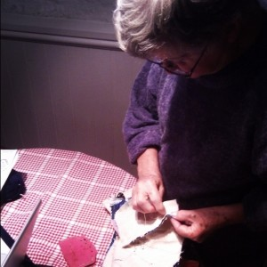 Super-Granny doing some embroidery (Copyright Corrie B)