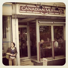 Grace outside the Canadian Muffin Shop (Copyright Corrie B)