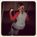 Corrie on the swings at 2 am (Copyright Corrie B)