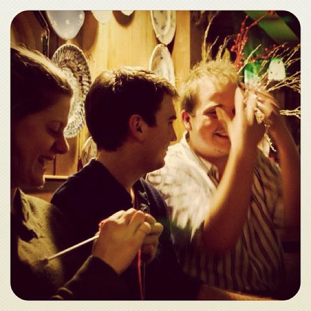 Knitting in the pub in Glasto (Copyright Sam E)