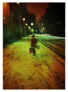 The Birthday Girl heads home through the snow (Copyright Anna S)