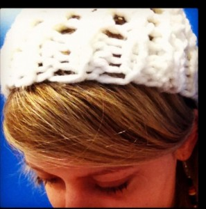 "Me and mah ""Hospital Hat"", knitted during one of my appts."