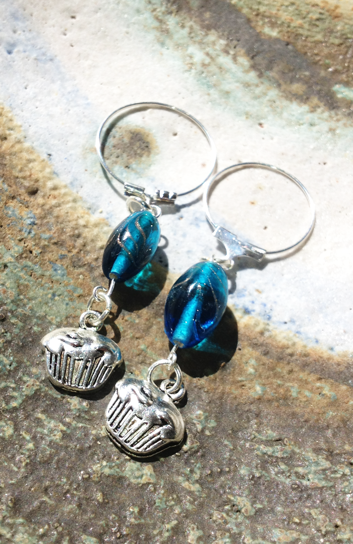 Blue stitch markers made from Grace beads.