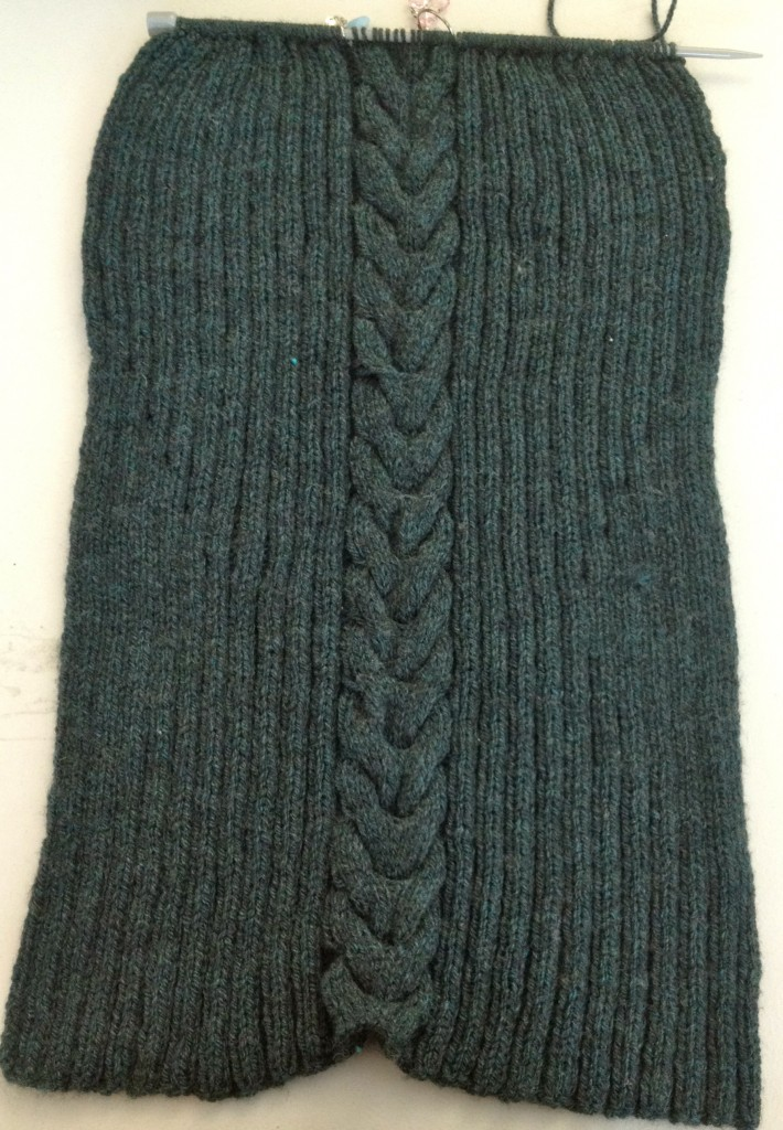 The front of the jumper, massively over-knitted and had to rip back 32 rows from here.
