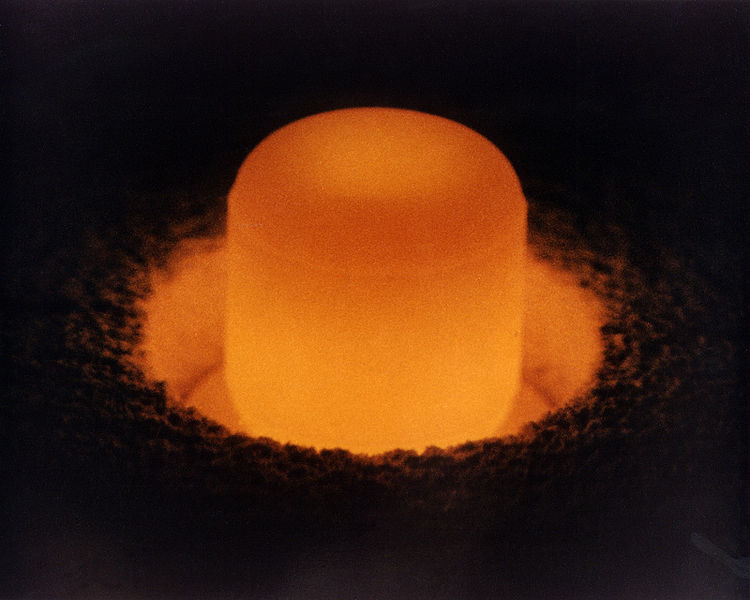 Glowing plutonium in the furnace.