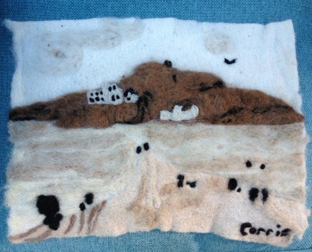 Burgh Island, needle-felted in alpaca wool by Corrie!