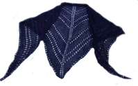 The shawl I bought, shown in blue. (C) knit 'n' caboodle