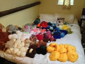 Our double bed COVERED IN YARN.