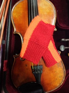 Mitts on my violin, looking a lot less fluorescent than they are in RL.