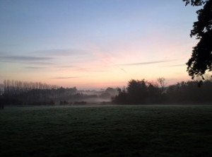 Mist rising over Kent as we left early this morning.