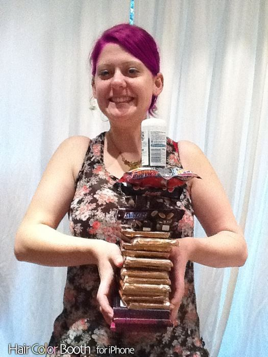Me with a pile full of chocolate (and purple hair)