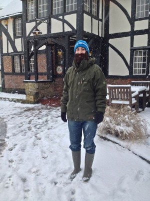 JS with his knitted beard keeping snow off his face.