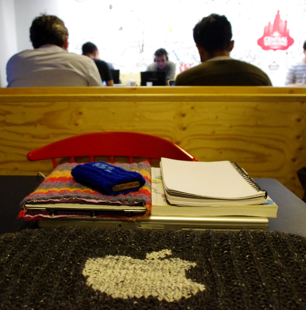 Working at Google Campus and showing off our knitted goods.