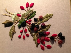 Incredible embroidered spring of berries with seed beads for berries.