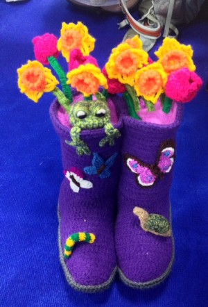 Close-up of competition entries. I love these wellies!