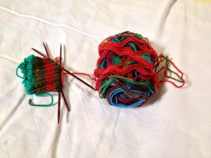 Sock for Wonder-Gran, ready to continue beyond the cuff.