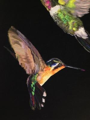 Close-up of a hummingbird by Alexander McQueen.