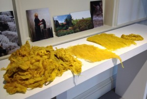 Some dyed pieces - look at the sheen on that yarn at the back!