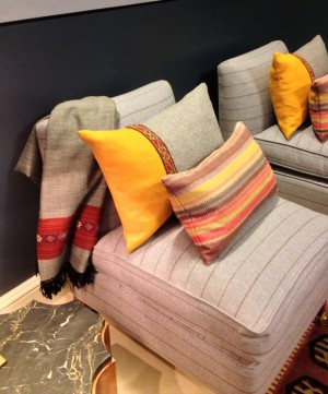 Throws and cushions in the snug.