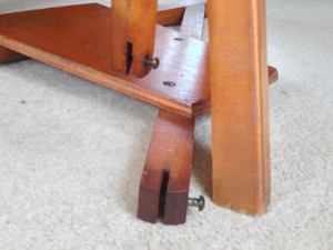Collapsed treadle, with leather removed.