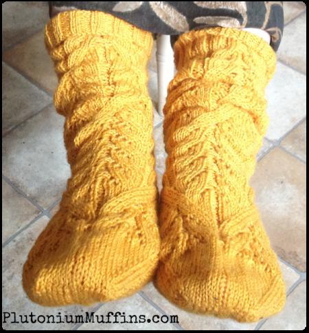 Cadence socks on Wonder-Mum.