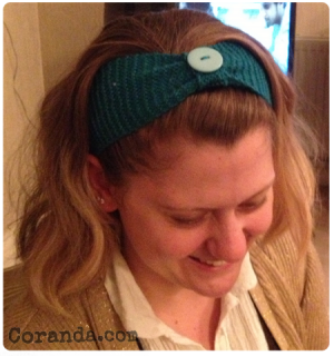 Showing off the button on my head-band.