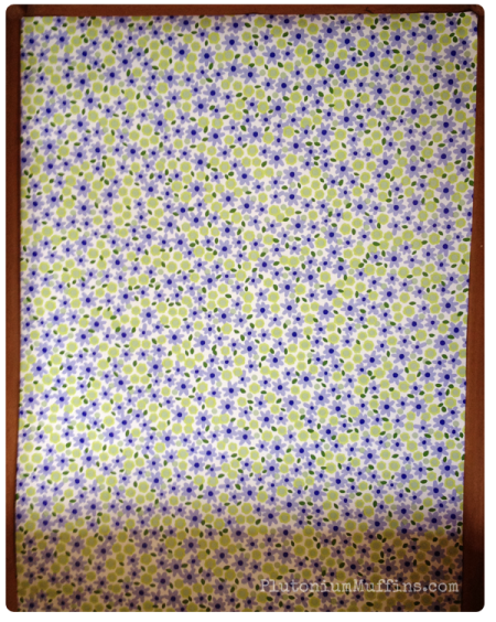 Blue and green flowery lining paper.