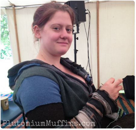 Knitting at a folk festival.