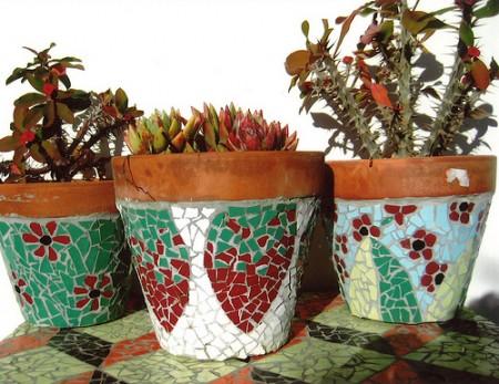 Some of Josefina's stunning mosaic pots.