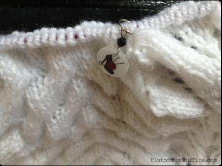 Stitch Marker in my baby blanket.