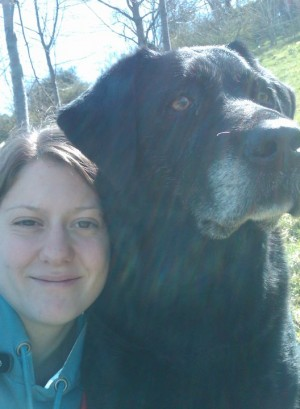 Corrie and my beautiful Jet, a black Labrador (photo from 2011)