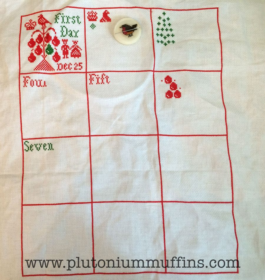 I made loads of progress on the Plum Street Sampler. I finished the border on the 1st of June, so that doesn't count, but I didn't take a photo before!