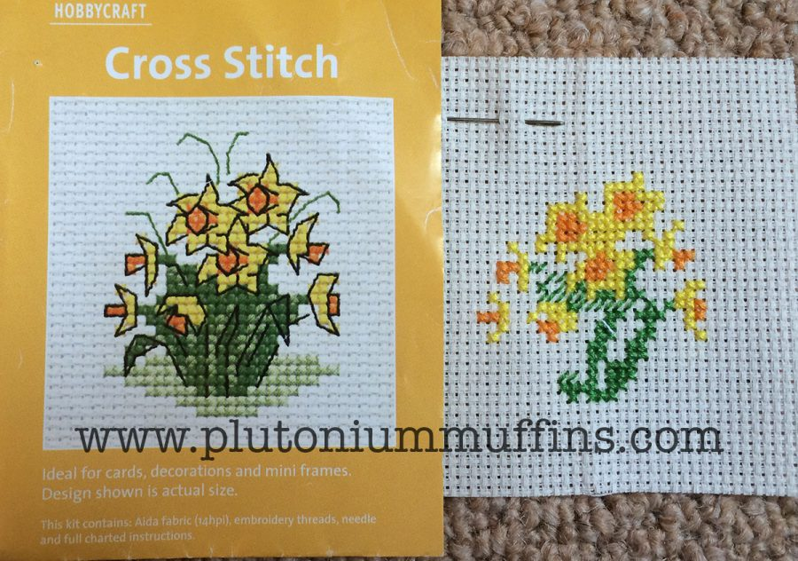 A fair amount of stitching time on the 6th of May - daffodils from Hobbycraft.