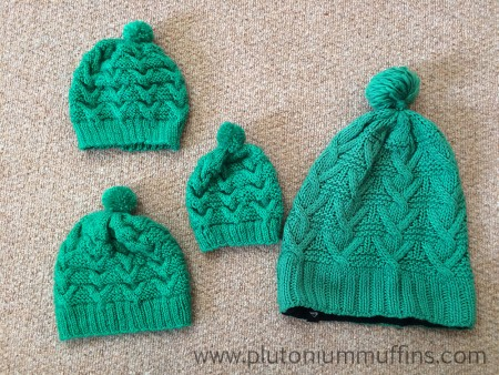 The three knitted hats and the original. In order of knitting - with first at top.