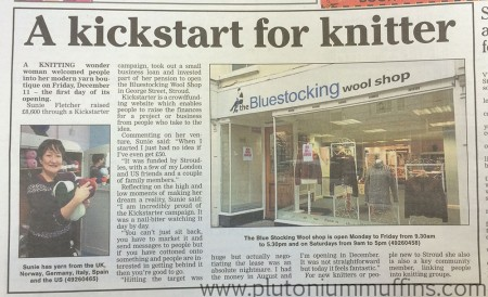 The Bluestocking Wool Shop - announcement in the local paper.