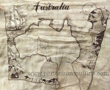 My Australia map cross stitch at the end of March - perfect travel stitching?!