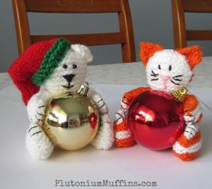 Christmas Bear & Cat Baubles
