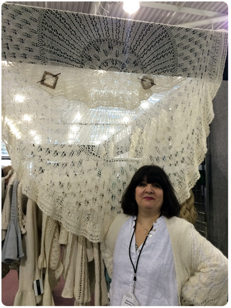 Belinda Harris-Reid with her absolutely stunning design, the Strawberry Pi Shawl.