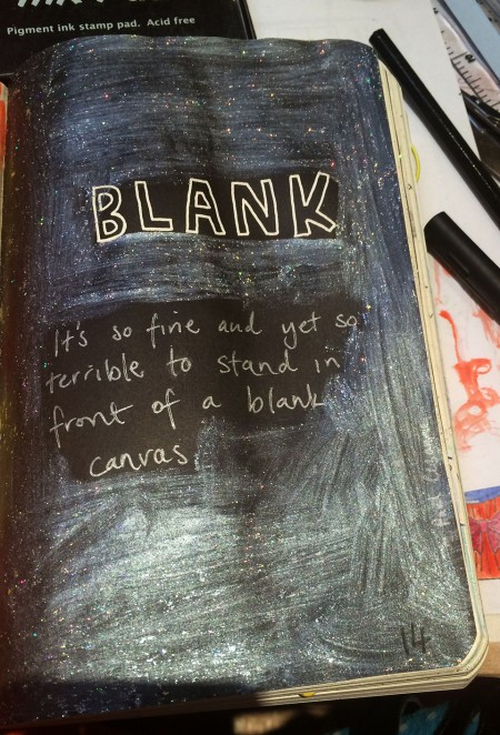 """Completed page from the Wreck This Journal - """"leave this page BLANK on purpose"""""""