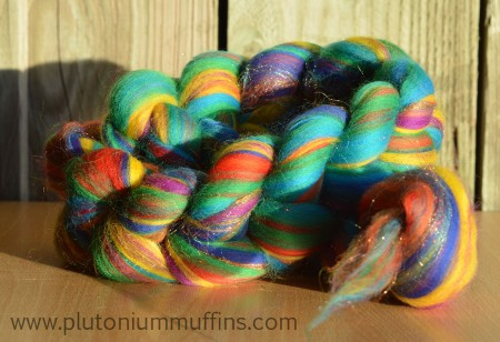 Here's 100g of Blazing Rainbows roving for you!