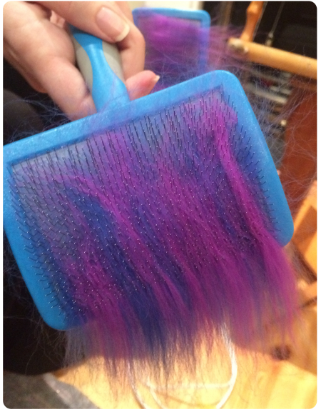 Blending violet and indigo merino.