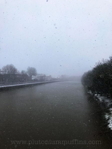 Heavy blizzard hiding the rest of Bristol from view.