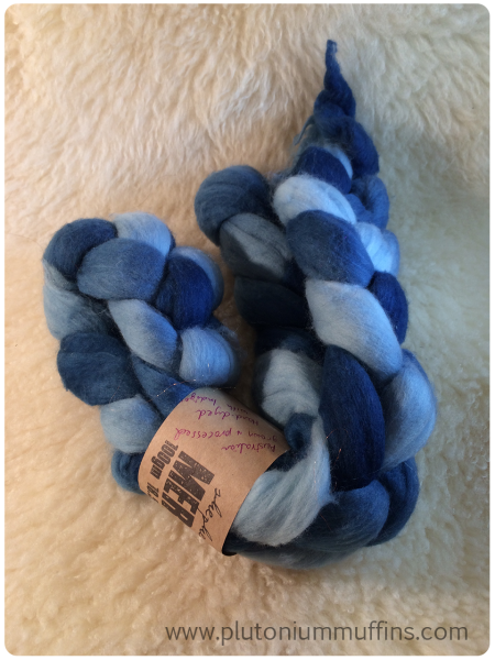 Indigo-dyed blue merino, a gift from Melanie.