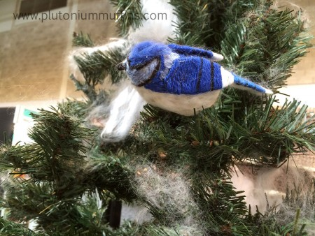 A tiny bluebird in a fir tree. The detail in this project was fantastic.
