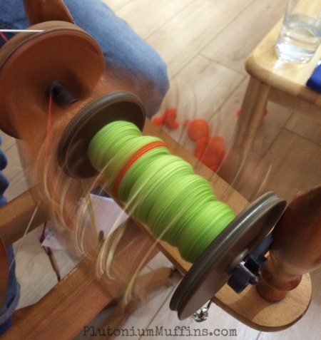 Action shot of the bobbin & flyer during spinning.