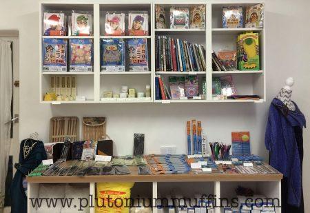 Books, DMC kits, knitting accessories.