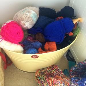 One of my yarn buckets.