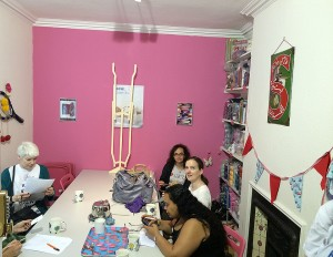 One of the workshop rooms with us enjoying our tea and coffee.